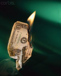 Crumpled One Dollar Bill on Fire
